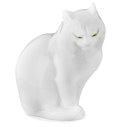 Herend Sitting Cat Looking Right, Natural White