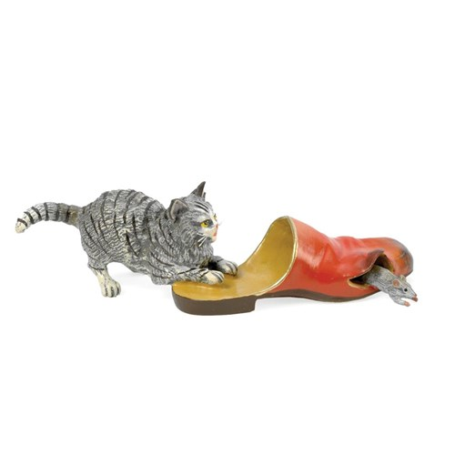 Austrian Bronze Cat Chasing Mouse Through Slipper