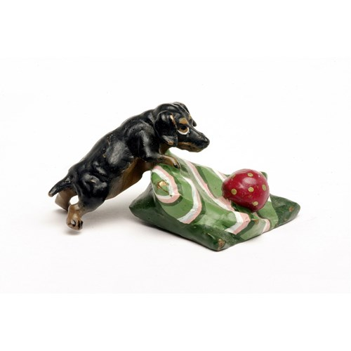 Austrian Bronze Dachshund on Pillow with Ball Figurine