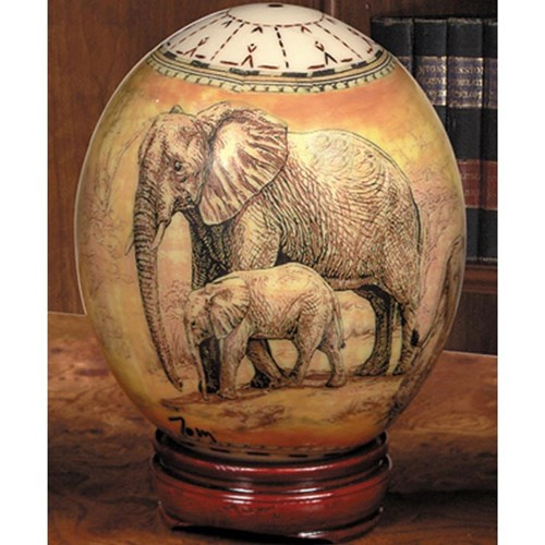 Decoupage Ostrich Egg with Elephants