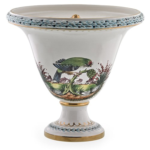 Urn with Cover: Tropical Bird Green