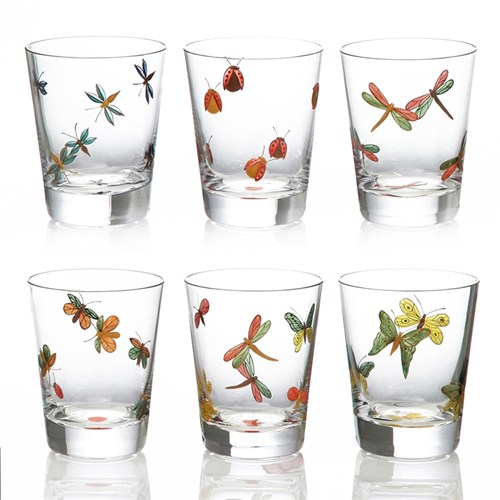 Artel Painted Fly Fusion Single Old Fashioned Set of 6