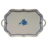 Herend Chinese Bouquet Blue Rectangular Tray with Branch Handles