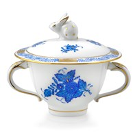 Herend Chinese Bouquet Blue Covered Sugar Bowl with Bunny Finial