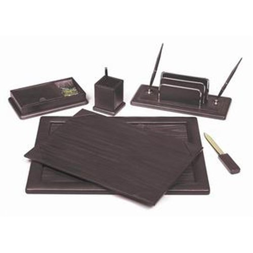 Colonial 5-Piece Leather Desk Set, Burgundy