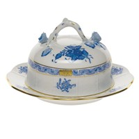 Herend Chinese Bouquet Blue Covered Butter Dish