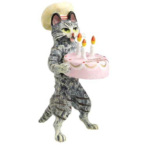 Austrian Bronze Cat Chef with Birthday Cake