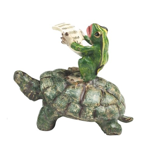 Austrian Bronze Frog with Newspaper Riding Turtle Figurine