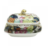 Mottahedeh Tobacco Leaf Small Tureen & Stand