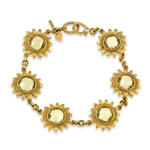 18k Gold Flower Bracelet with Lemon Citrine Centers