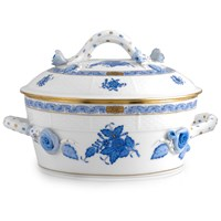 Herend Chinese Bouquet Blue Vegetable Dish with Branch Handle