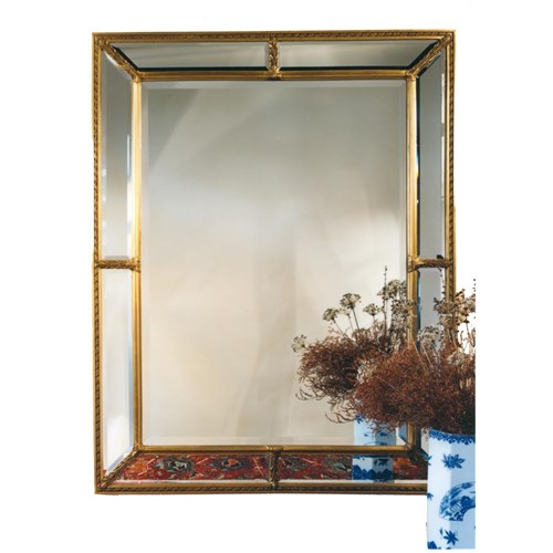 Double Rectangle Mirror Antiqued Gold