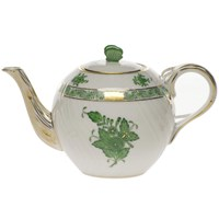 Herend Chinese Bouquet Green Teapot with Butterfly Finial, Small