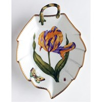 Anna Weatherley Old Master Tulips Leaf Dish, Purple & Yellow