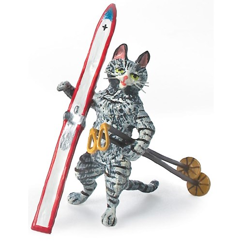 Austrian Bronze Cat with Ski and Poles