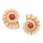 18k Gold Cone Shell & Red Coral Earrings
