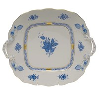 Herend Chinese Bouquet Blue Square Cake Plate with Handles