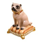 Fawn Pug Sitting on Brown Pillow