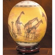 Decoupage Ostrich Egg Yellow with Giraffes