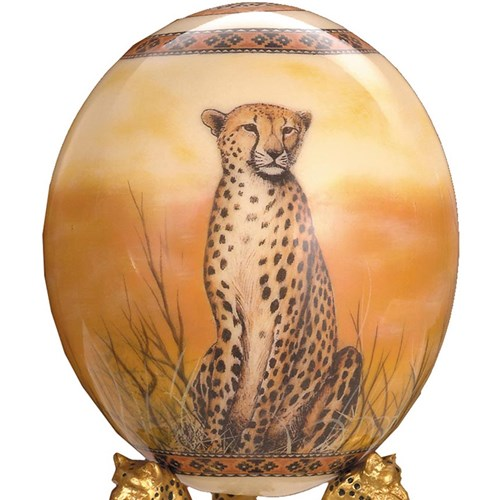 Decoupage Ostrich Egg with Cheetah