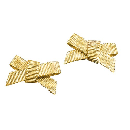 18k Gold Grosgrain Bowknot Clip Earrings
