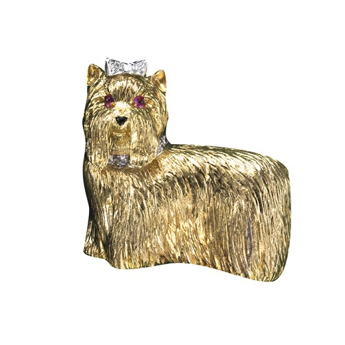 18k Yellow Gold Yorkie Pin