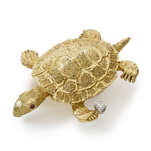 18k Gold Sea Turtle Pin