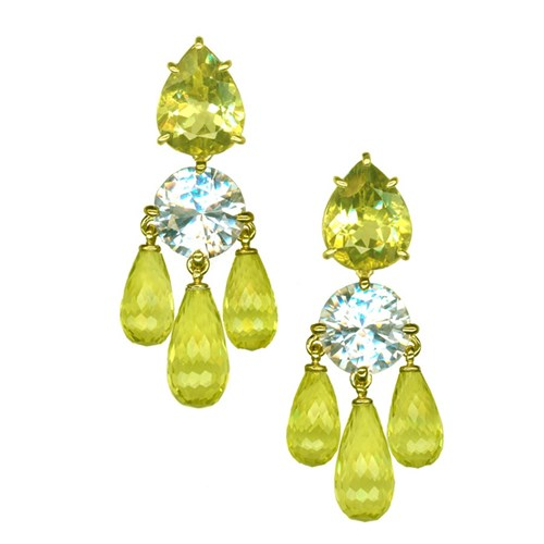 18k Gold Lemon Citrine & White Topaz Chandelier Earrings