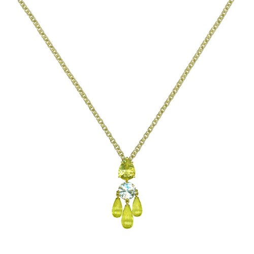 18k Gold Lemon Citrine & White Topaz Necklace