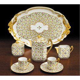 Herend Sèvres Petites Roses en Or Grande 8 Piece Coffee Set, Special Edition