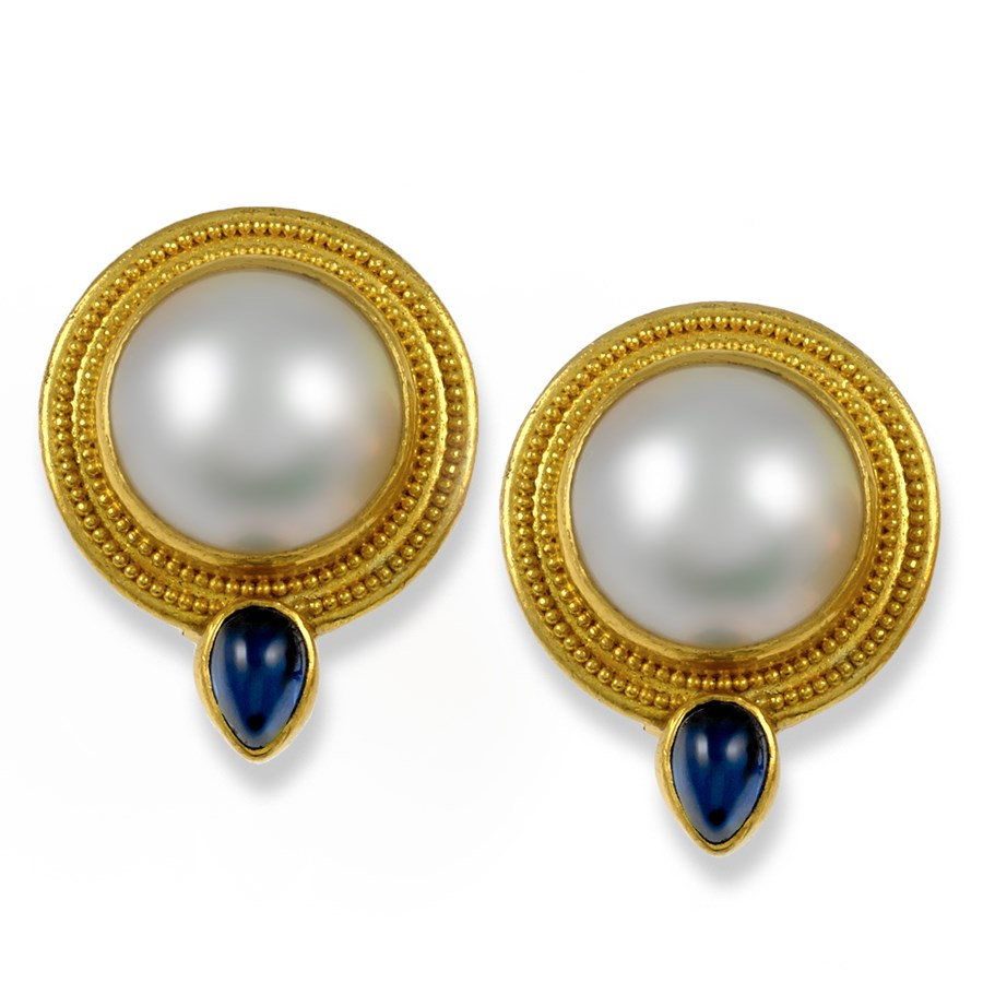 18k Gold Mabe Pearl Earrings Posts