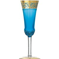 St. Louis Thistle Gold Champagne Flute, Sky Blue