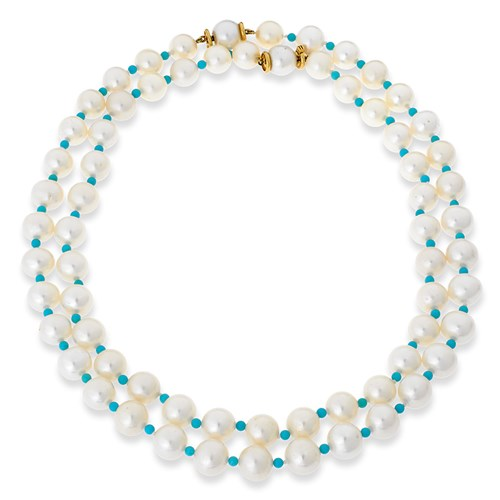 18k Gold Nesting Pearl & Turquoise Necklaces