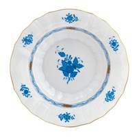 Herend Chinese Bouquet Blue Rim Soup Bowl, Medium