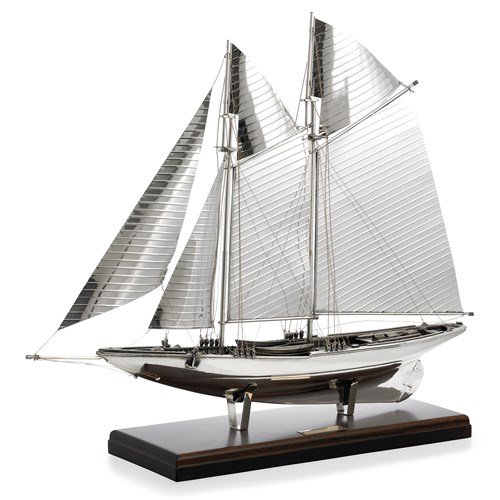 Sterling Silver America's Cup Boat with Wood Base