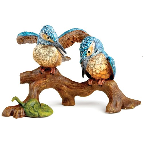 Austrian Bronze Two Kingfishers on Branch Figurine