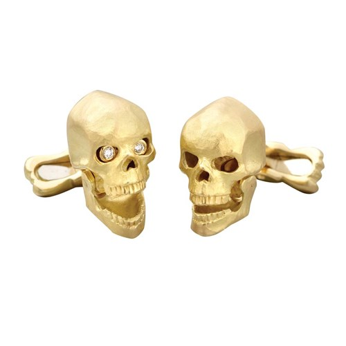 18K Gold and Diamond Skull Cufflinks
