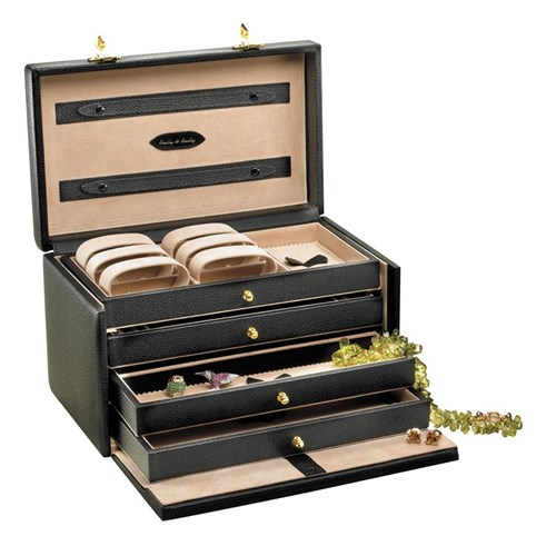 Four-Drawer Jewelry Case Black