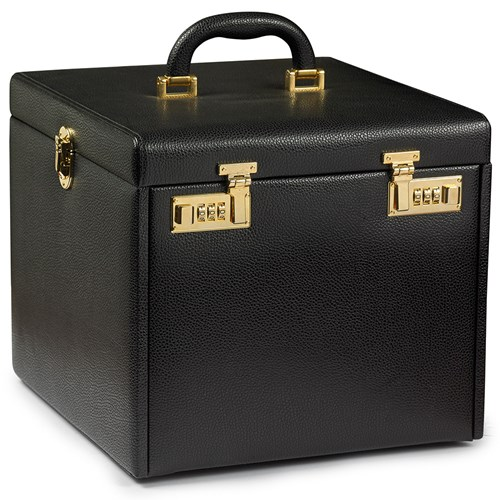 Medium Jewelry Cases with Six Drawers, Black