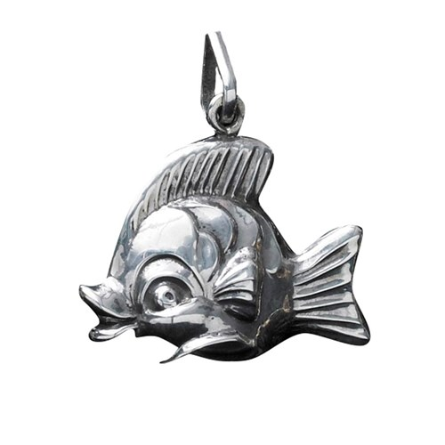 Sterling Silver Happy Fish Ornament