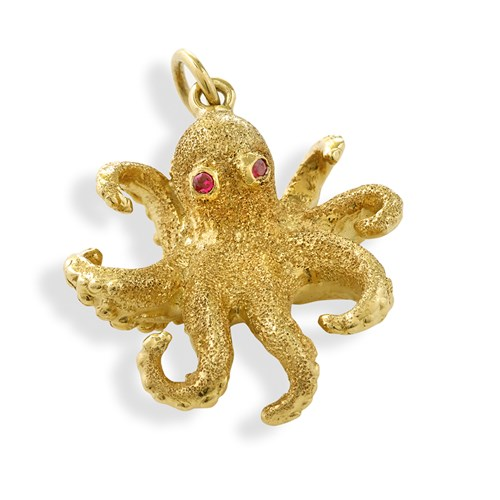 18k Gold Octopus Charm