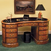 Myrtle Kidney Desk with Brown Leather Top