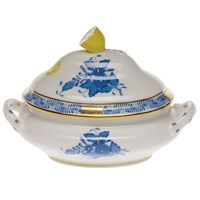 Herend Chinese Bouquet Blue Mini Tureen with Lemon Finial