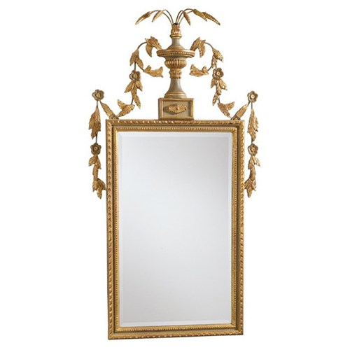 Beveled Mirror with Grey and Gold Frame