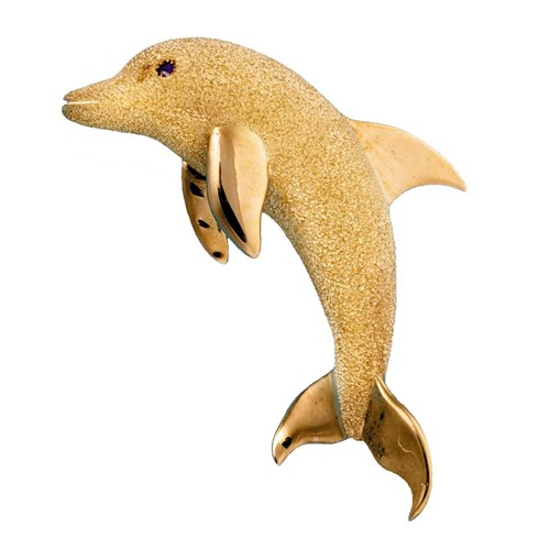 18k Yellow Gold Dolphin Pin, Large