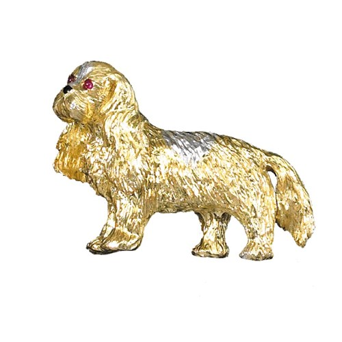18k Gold Large Cavalier King Charles Spaniel Pin