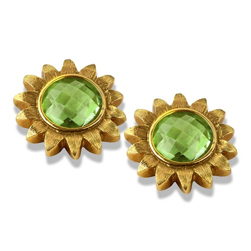 18k Gold Peridot Sunflower Earrings