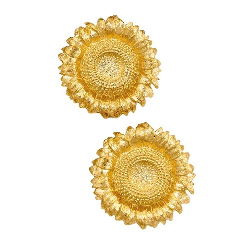 18k Gold Hand-Engraved Sunflower Earrings