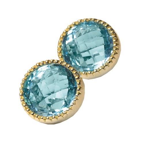 18k Gold Blue Topaz Bezel Earrings