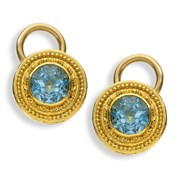 22k Gold Aquamarine Stud Earrings